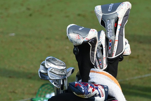 Ian Poulter's colorful Cobra AMP Cell Pros shined in the sun Tuesday morning.