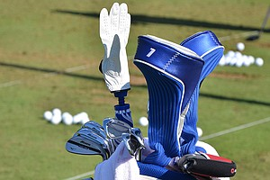 Luke Donald has a set of Mizuno MP-64 irons and MP-T4 wedges in his bag at Oak Hill.