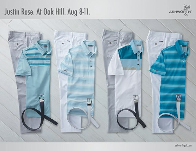Justin Rose's scripted apparel for the 2013 PGA Championship.