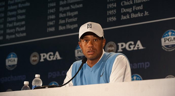 Tiger Woods at his press conference for the 2013 PGA Championship at Oak Hill CC in Rochester, N.Y.