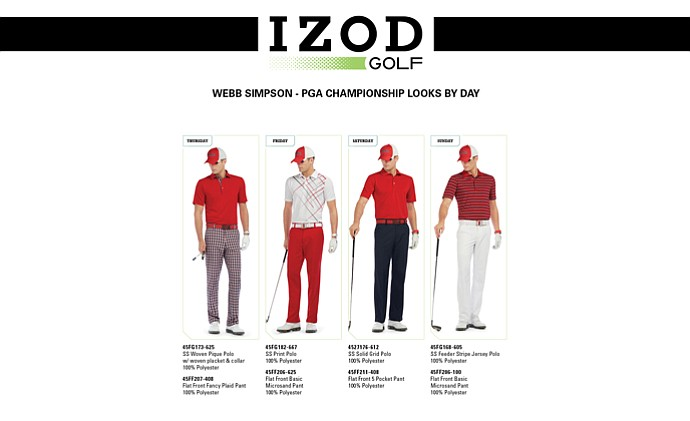 Webb Simpson's apparel for the 2013 PGA Championship