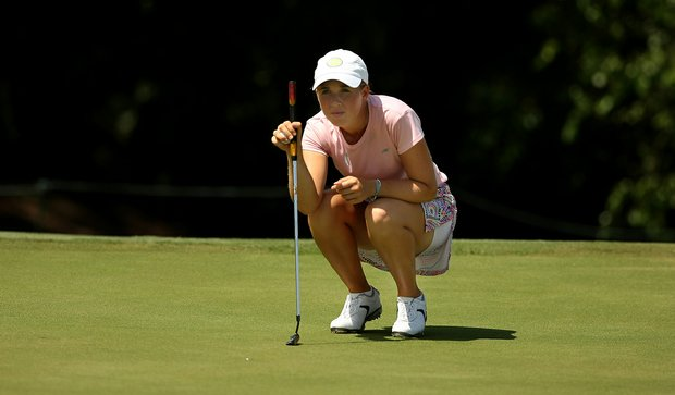 Casey Danielson lines up her putt at No. 8 during the Round of 64 match play at the 2013 U. S. Women's Amateur.