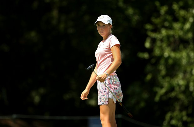 Casey Danielson at No. 8 during the Round of 64 match play at the 2013 U. S. Women's Amateur. Danielson lost to Kendall Prince 2 and 1.