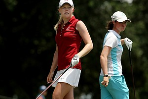 Stephanie Meadow of Northern Ireland  and Leona Maguire of Republic of Ireland face off during the Round of 64 match play at the 2013 U. S. Women's Amateur at Country Club of Charleston.