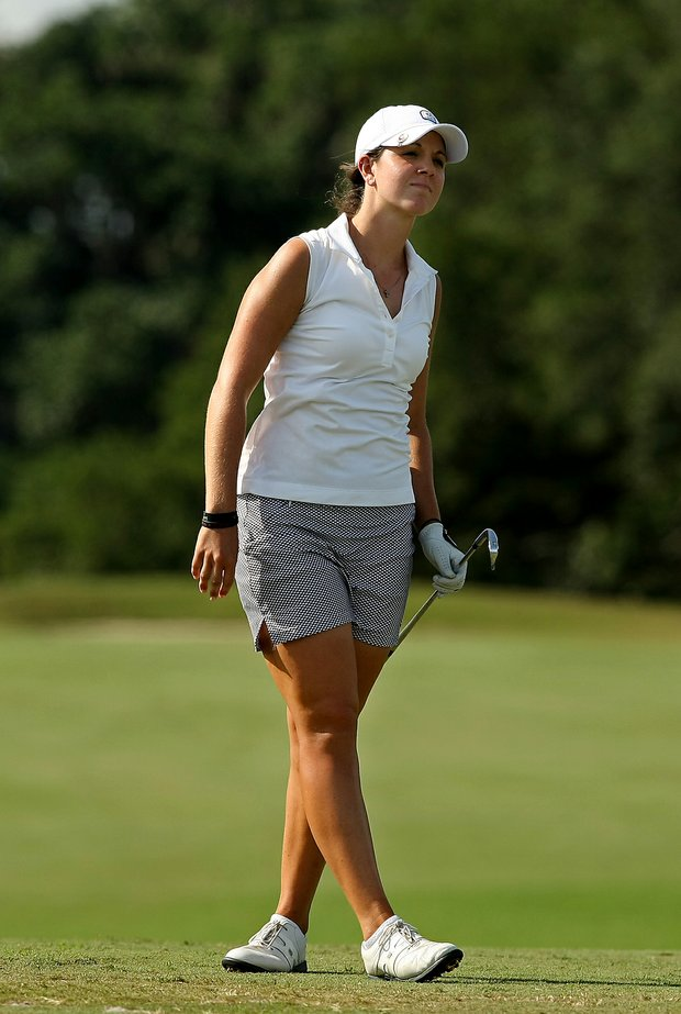 Emma Talley watches her tee shot at No. 17 during the Round of 64 match play at the 2013 U. S. Women's Amateur at Country Club of Charleston. Talley defeated Lydia Choi, 3 and 1.