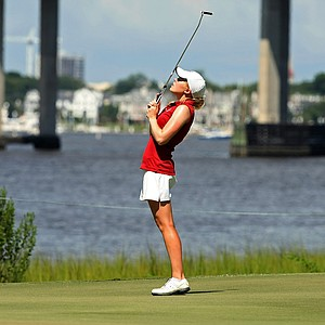 Stephanie Meadow reacts to missing her par putt at No. 10 during the Round of 64 at the 2013 U. S. Women's Amateur.