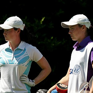 Leona Maguire, left, with here sister/caddie Lisa during the Round of 64 match play at the 2013 U. S. Women's Amateur.