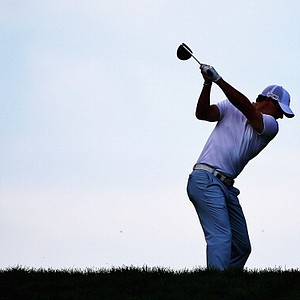 Rory McIlroy hits a tee shot during a practice round prior to the start of the 95th PGA Championship at Oak Hill.