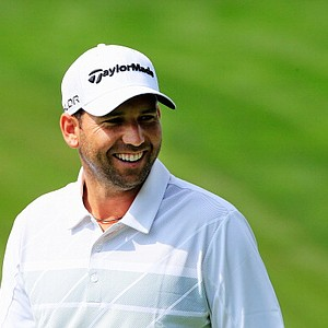 Sergio Garcia smiles during a practice round prior to the start of the PGA Championship at Oak Hill Country Club in Rochester, New York.