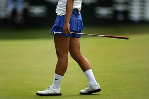 Kelly Shon has been sporting white crew socks for most of the 2013 U. S. Women's Amateur at Country Club of Charleston.