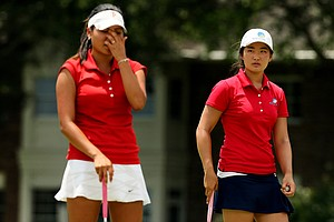 Su-Hyun Oh defeated Grace Na 2 and 1 during the Round of 32 match play at the 2013 U. S. Women's Amateur at Country Club of Charleston.