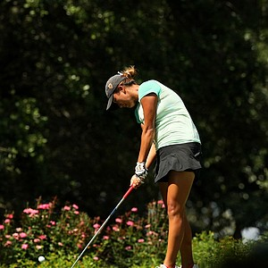 Annie Park hits her tee shot at No. 11 during the Round of 16 match play at the 2013 U. S. Women's Amateur.