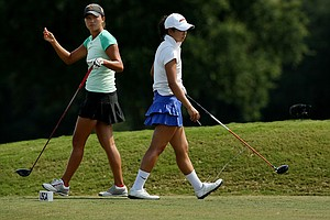 Annie Park and Kelly Shon at No. 13 during the Round of 16 match play at the 2013 U. S. Women's Amateur at Country Club of Charleston. Park defeated Shon, 1 up.