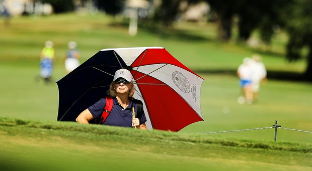 Curtis Cup captain, Ellen Port, watches the action during the Round of 16 match play at the 2013 U. S. Women's Amateur at Country Club of Charleston. Port played in the stroke-play rounds but did not advance to match play.