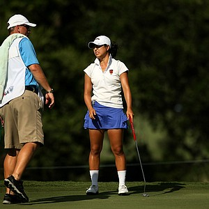 Kelly Shon grimaces after missing a par putt at No. 17 during the Round of 16 match play at the 2013 U. S. Women's Amateur. Shon lost to Annie Park, failing to advance to the quarterfinals.
