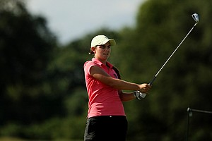 Katelyn Sepmoree watches her shot at No. 17 during the Round of 16 match play at the 2013 U. S. Women's Amateur at Country Club.