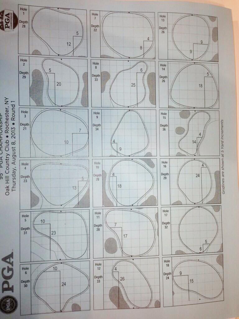 Hole locations for Round 1 at the 2013 PGA Championship at Oak Hill.