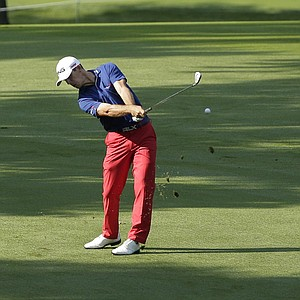Billy Horschel hits from the fairway on the 17th hole during the first round of the PGA Championship in Rochester, N.Y.