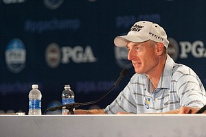 Jim Furyk gives an interview in the media center during the 95th PGA Championship at Oak Hill Country Club.