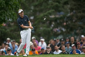 Luke Donald reacts to his tee shot on No. 7 during the first round of play at the 95th PGA Championship.