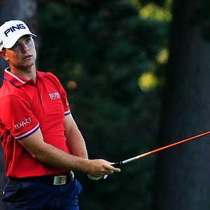 Luke Guthrie hits his tee shot on the fourth hole during the first round of the 95th PGA Championship.