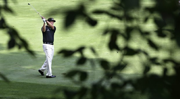 Phil Mickelson during his first-round 71 to open the 2013 PGA Championship at Oak Hill.