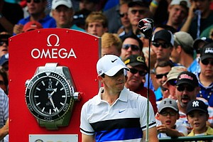 Rory McIlroy waits on the first tee during the first round of the PGA Championship in Rochester, N.Y.