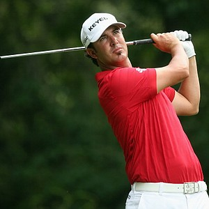 Scott Piercy hits his tee shot on the third hole during the first round of the PGA Championship in Rochester, N.Y.