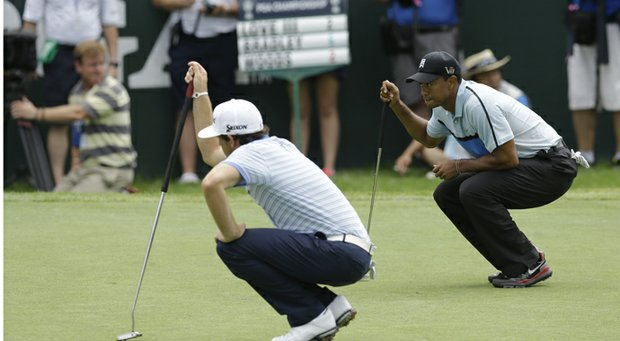 Tiger Woods (right) and Keegan Bradley during the 2013 PGA Championship at Oak Hill.