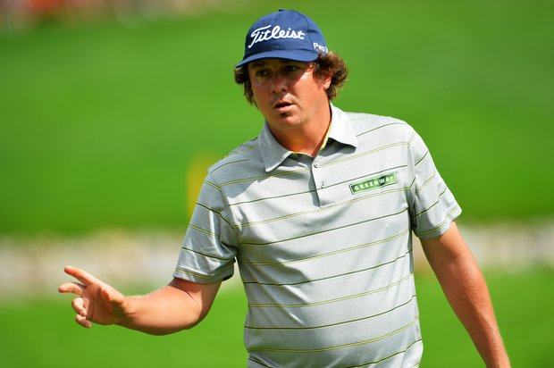 Jason Dufner makes birdie on the 11th hole during the second round of the 95th PGA Championship.