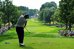 Jason Dufner hits his tee on the 13th hole during the second round of the PGA Championship.