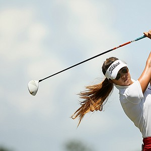 Alison Lee hits her tee shot at No. 2 during the quarterfinals of match play at the 2013 U. S. Women's Amateur at Country Club of Charleston.