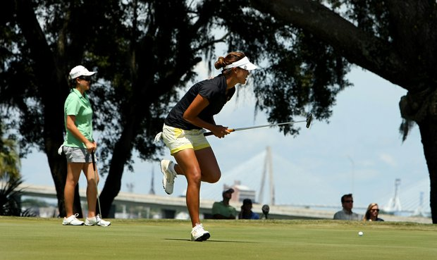 Annie Park reacts while watching her putt at No. 5 during the quarterfinals of match play at the 2013 U. S. Women's Amateur at Country Club of Charleston.