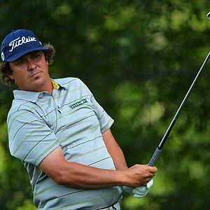 Jason Dufner watches his tee shot on the 15th hole during the second round of the 95th PGA Championship.