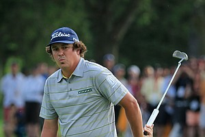 Jason Dufner reacts on the 17th green during the second round of the 95th PGA Championship Rochester, N.Y.