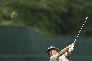 Jason Dufner hits from the fairway on the eighth hole during the second round of the PGA Championship.