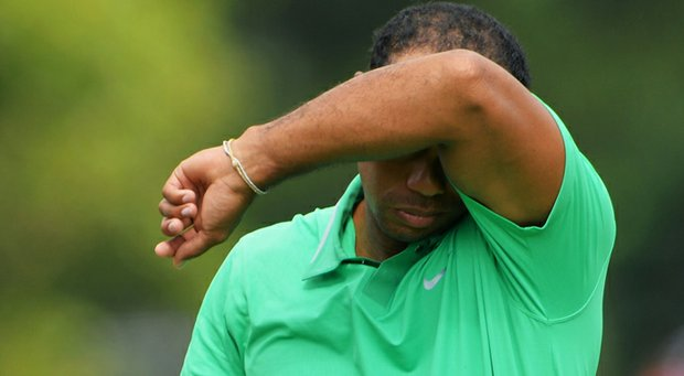 Tiger Woods waits on the sixth green during the second round of the 95th PGA Championship.