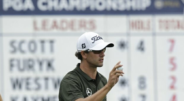 Adam Scott during the second round of the 2013 PGA Championship at Oak Hill.
