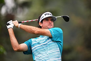 Bubba Watson hits his tee shot on the seventh hole during the second round of the 95th PGA Championship.