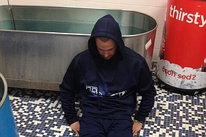 Evan Longoria #Dufnering at Dodgers Stadium after Jason Dufner posted a 7-under 63 during the second round of the PGA Championship at Oak Hill CC.