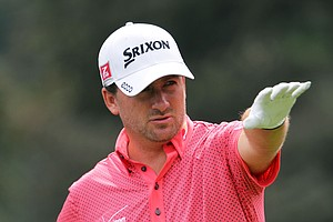 Graeme McDowell aims his tee shot on the seventh hole during the second round of the 95th PGA Championship.