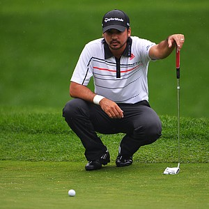 Jason Day lines up his putt on the 15th hole during the second round of the 95th PGA Championship.