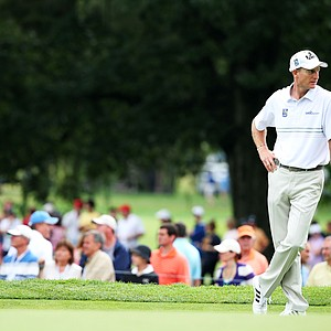 Jim Furyk waits on the fourth green during the second round of the PGA Championship in Rochester, N.Y.