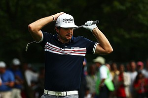 Keegan Bradley reacts to a shot on the third hole during the second round of the 95th PGA Championship.