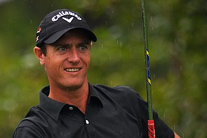 Nicolas Colsaerts smiles as he watches his tee shot on the 15th hole during the second round of the PGA Championship in Rochester, N.Y.