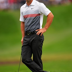 Paul Casey waits on the sixth green during the second round of the 95th PGA Championship.