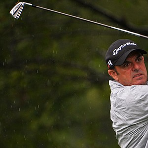 Paul McGinley hits his tee shot on the 15th hole during the second round of the 95th PGA Championship in Rochester, N.Y.