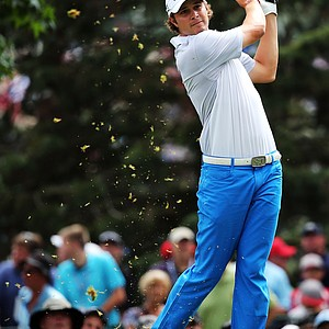 Peter Uihlein hits his tee shot on the seventh hole during the second round of the 95th PGA Championship.
