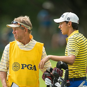 Matteo Manassero and his caddie Dave McNeilly during the first round of the 2013 PGA Championship at Oak Hill.
