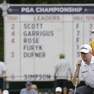 Robert Garrigus and caddie Brent Henley during the second round of the 2013 PGA Championship at Oak Hill.